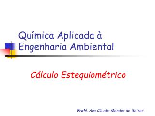 Química Aplicada à Engenharia Ambiental