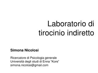 Laboratorio di tirocinio indiretto