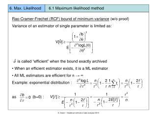 Rao-Cramer-Frechet (RCF) bound of minimum variance  (w/o proof)