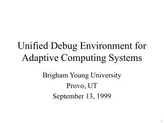 Unified Debug Environment for  Adaptive Computing Systems