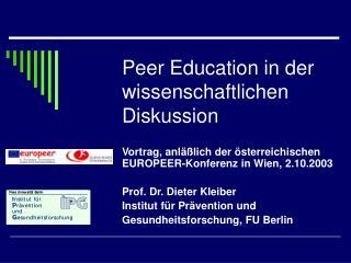 Peer Education in der wissenschaftlichen Diskussion