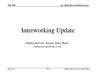 Interworking Update