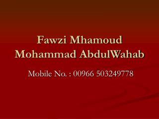 Fawzi Mhamoud Mohammad AbdulWahab