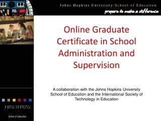 Online Graduate Certificate in School Administration and Supervision