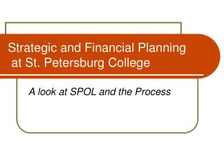 Strategic and Financial Planning  at St. Petersburg College