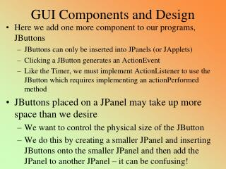 GUI Components and Design