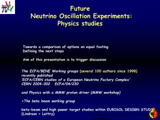 Future  Neutrino Oscillation Experiments: Physics studies
