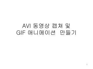 AVI  동영상 캡쳐 및  GIF  애니메이션  만들기