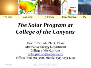 The Solar Program at  College of the Canyons
