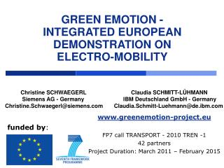 GREEN EMOTION -  INTEGRATED EUROPEAN DEMONSTRATION ON  ELECTRO-MOBILITY