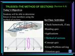TRUSSES THE METHOD OF SECTIONS  Section 6.4