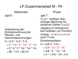 LP-Zusammenarbeit M - Ph