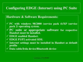 Configuring EDGE (Internet) using PC Suite