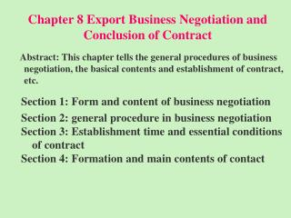 Chapter 8 Export Business Negotiation and Conclusion of Contract