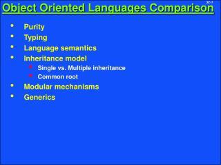 Object Oriented Languages Comparison