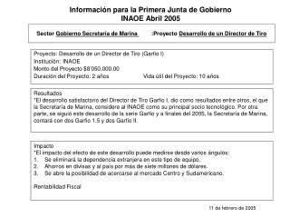 Sector  Gobierno Secretaría de Marina          :Proyecto  Desarrollo de un Director de Tiro