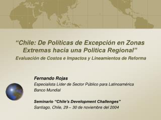 Fernando Rojas Especialista Líder de Sector Público para Latinoamérica Banco Mundial
