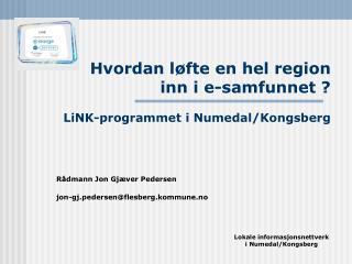 Hvordan løfte en hel region  inn i e-samfunnet ? LiNK-programmet i Numedal/Kongsberg