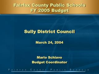 Fairfax County Public Schools FY 2005 Budget