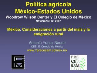 Antonio Yunez Naude CEE, El Colegio de Mexico www://precesam.colmex.mx