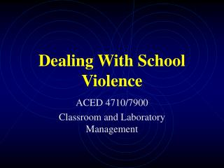 Dealing With School Violence