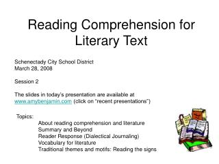 Reading Comprehension for Literary Text