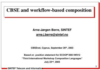 CBSE and workflow-based composition