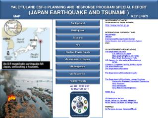 YALE/TULANE ESF-8  PLANNING AND RESPONSE PROGRAM SPECIAL REPORT (JAPAN EARTHQUAKE AND TSUNAMI )