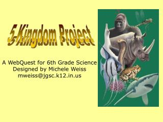 A WebQuest for 6th Grade Science Designed by Michele Weiss mweiss@jgsc.k12