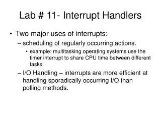 Lab # 11- Interrupt Handlers