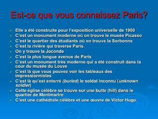 Est-ce que vous connaissez Paris?