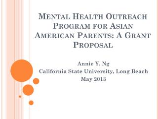 Mental Health Outreach Program for Asian American Parents: A Grant Proposal