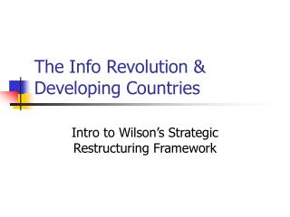 The Info Revolution & Developing Countries