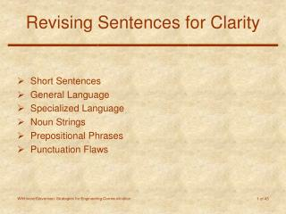 Revising Sentences for Clarity