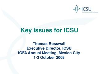 Key issues for ICSU