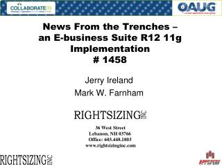 News From the Trenches    an E-business Suite R12 11g Implementation  1458