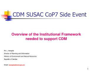 CDM SUSAC CoP7 Side Event