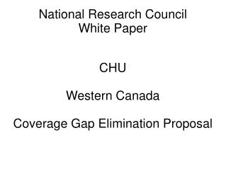 National Research Council White Paper