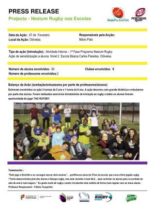PRESS RELEASE Projecto - Nestum Rugby nas Escolas