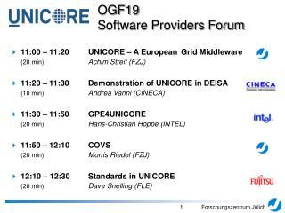 11:00 – 11:20UNICORE – A European Grid Middleware (20 min) Achim Streit (FZJ)