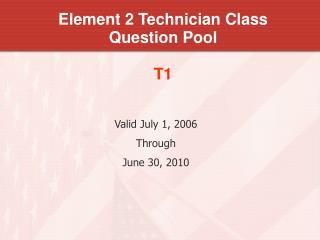 Element 2 Technician Class Question Pool T1
