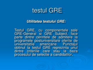 testul GRE