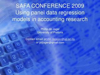 SAFA CONFERENCE 2009 Using panel data regression models in accounting research