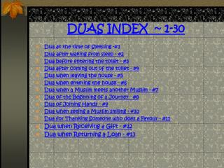 DUAS INDEX   1-30
