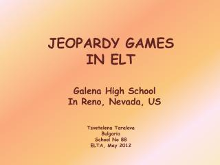 JEOPARDY GAMES IN ELT