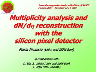Multiplicity analysis and dN/d h  reconstruction with the  silicon pixel detector