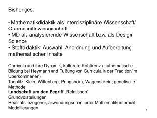 Bisheriges: Mathematikdidaktik als interdisziplinäre Wissenschaft/ Querschnittswissenschaft