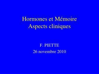 Hormones et Mémoire Aspects cliniques