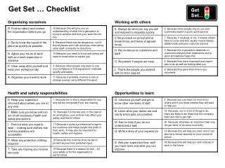 Get Set … Checklist