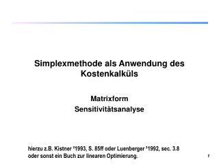 Simplexmethode als Anwendung des Kostenkalküls